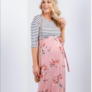 Pinkblush maternity dress stripe and floral large